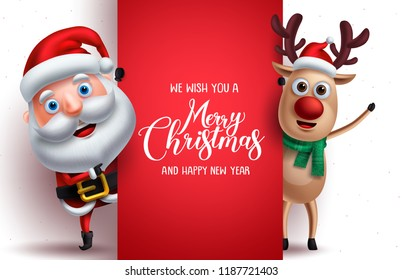 Santa claus and reindeer vector christmas characters holding a board with merry christmas greeting in white background. Vector illustration template.