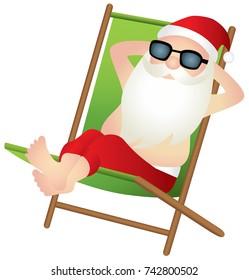 Santa Claus relaxing on a beach chair