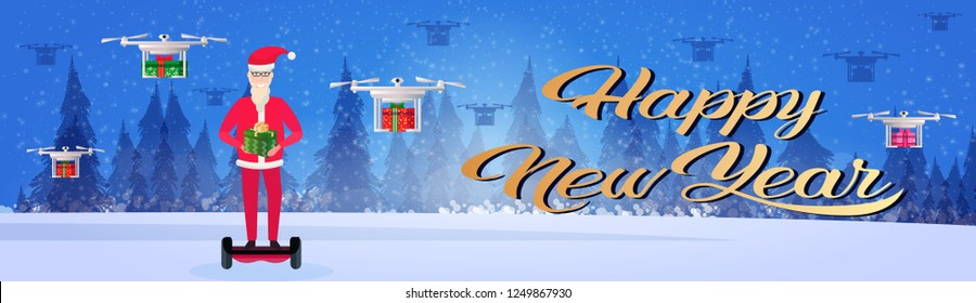 santa claus ride electric scooter drone delivery service new year merry christmas concept fir tree forest