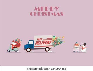 Santa claus ride a motorbike following by truck and Snowman push a shopping cart. Christmas delivery service Vector illustration