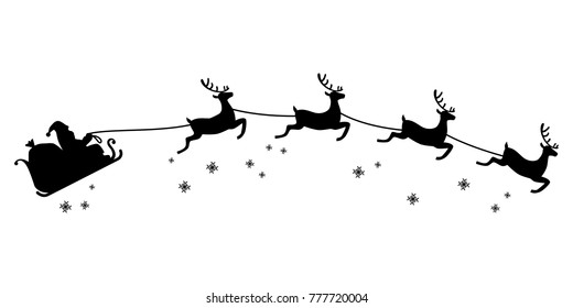 Santa Claus ride on sleigh drawn by flying reindeer silhouette illustration, Christmas concept.