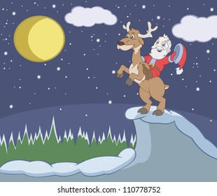 Santa Claus rides the deer