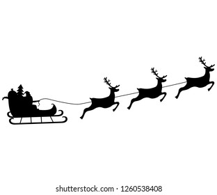 Santa Claus rides in harness on the reindeer