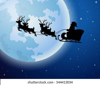Santa Claus rides reindeer sleigh silhouette against a full moon background