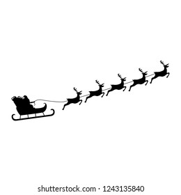 Santa Claus rides in a sleigh in harness on the reindeer . vector