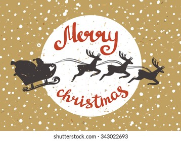 Santa Claus rides in a sleigh in harness on the reindeers. Retro merry christmas card on the cardboard. Vector illustration