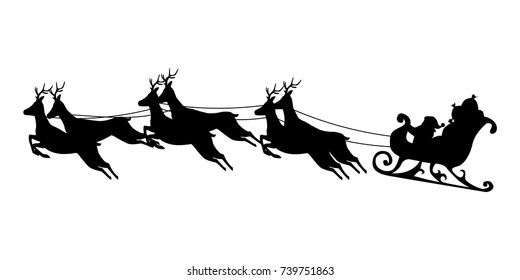 Santa Claus rides in a sleigh in harness on the reindeer. Silhouette vector