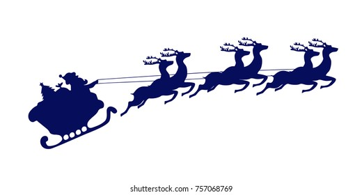 Santa Claus rides in a sleigh pulled by reindeer. Christmas icon