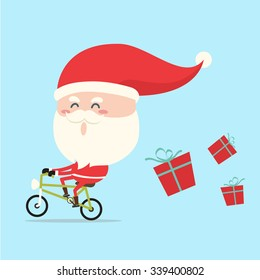 santa claus riding bicycle in christmas