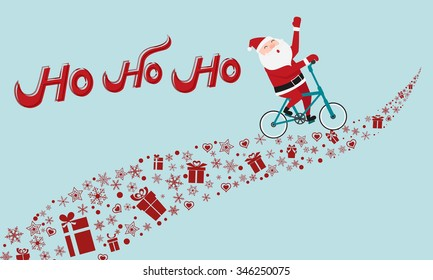 Santa Claus riding bicycle on gift way. HO-HO-HO Merry Christmas. Cartoon Vector Illustration.