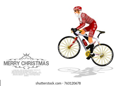 Santa Claus is riding the bicycle on transparent background
