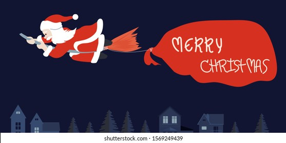 Santa claus riding broom and pull big bag contain present inside over house, Christmas concept. Vector illustration.