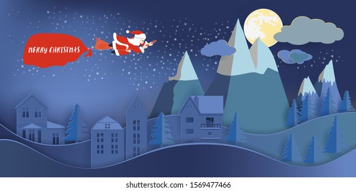Santa claus riding broom and pull big bag contain present inside over house and big mountain in full moon night, Christmas concept. Vector illustration.
