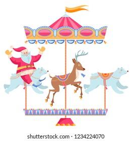 Santa Claus riding a Christmas carousel. Vintage christmas merry-go-round. Vector illustration