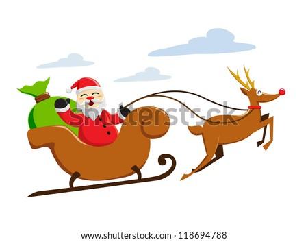 santa claus riding his sleigh reindeer stock vector royalty free