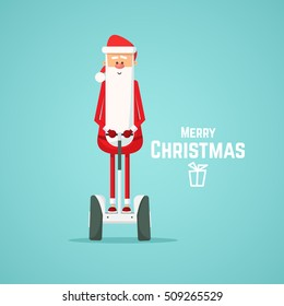 Santa Claus riding on a electric scooter Vector illustration of a flat design.