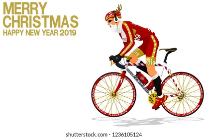Santa Claus is riding the road bike on transparent background
