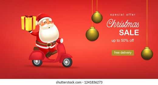 Santa claus riding a scooter carry gift box. Christmas sale template vector illustration. Holiday greeting card, advertising, promotion, banner, Christmas vector background.