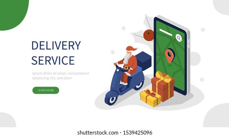 Santa Claus riding Scooter and Delivering Gifts. Delivery Service man in Holiday clothes. Christmas Shopping and Winter Holiday Concept. Flat Isometric Vector Illustration.