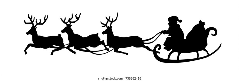 Santa Claus is riding in a sleigh with a cart of deer. Black Santa silhouette isolated on white background. Vector illustration