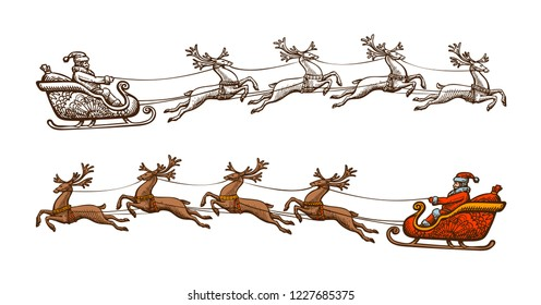 Santa Claus is riding in a sleigh. Christmas, celebration concept. Sketch vintage vector illustration
