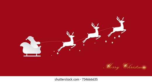 Santa Claus riding in a sleigh with reindeer