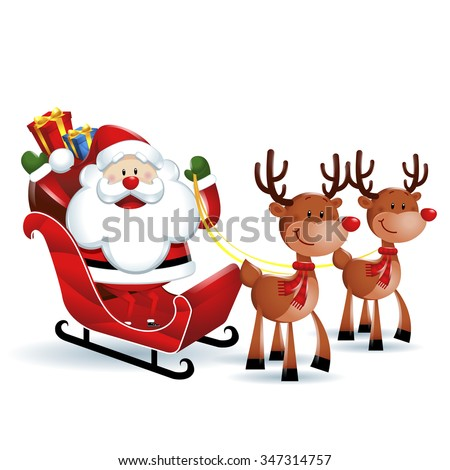santa claus riding sleigh reindeer white stock vector royalty free