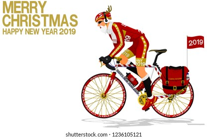 Santa Claus is riding the touring bike on transparent background
