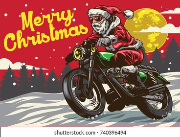 santa claus riding vintage motorcycle