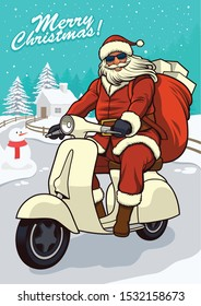 Santa Claus Riding Vintage Scooter with snowy background for greeting card