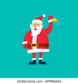 Santa Claus is ringing the bell. Merry Christmas and happy New Year. Flat design vector illustration.