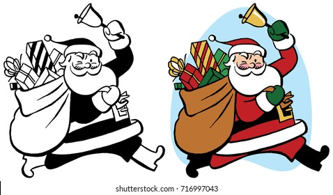 Santa Claus rings a bell as he carries a sack of Christmas presents.