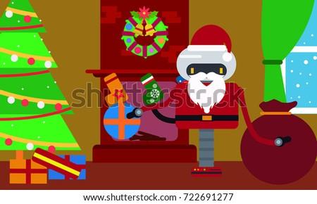 Santa Claus Robot House Gifts Near Stock Vector (Royalty Free ...
