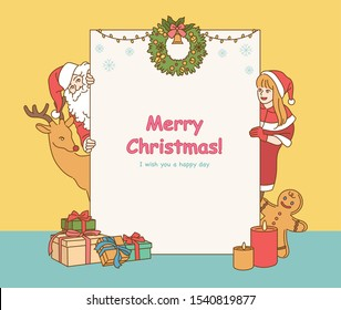 Santa Claus and Rudolph reindeer girl holding a big board with Christmas messages. hand drawn style vector design illustrations.