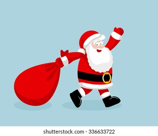 Santa Claus running with the bag of the presents. Vector illustration. EPS 8. No transparency. No gradients.
