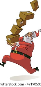 Santa Claus runs with several gifts to have them shipped off