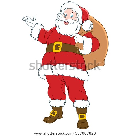 santa claus with a sack of gifts cartoon character isolated on white background colorful