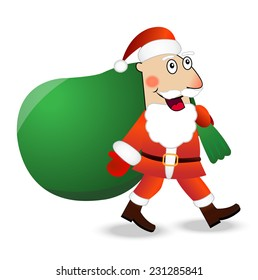 Santa claus with the sack of gifts,  vector  illustration