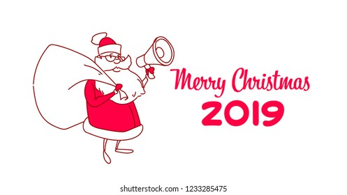 santa claus with sack hold loudspeaker christmas holiday new year concept sketch doodle horizontal vector illustration