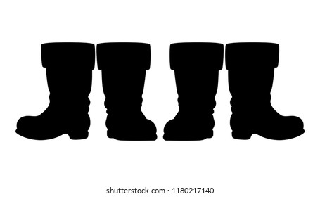 Santa Claus or Saint Nicholas boots - black silhouette of two pairs