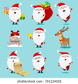 Santa claus set. Christmas. Vector illustration.