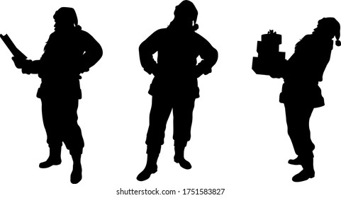 Santa Claus. Set of different silhouettes. Santa stands straight and sideways, reads letter and carries gifts. Merry Christmas and happy New year. Holiday design elements. Isolation. Vector