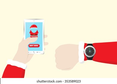 Santa Claus Shopping at Christmas - Last Minute Deal with Mobile E-Commerce. Vector illustration for Retail Business