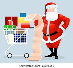Santa Claus shopping with letter