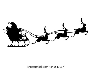 Santa Claus silhouette with reindeer