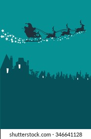 Santa Claus silhouette with reindeer riding in the sky above a city