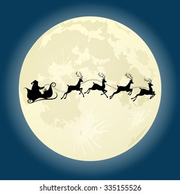 Santa Claus silhouette riding deer in front of moon. Vector illustration