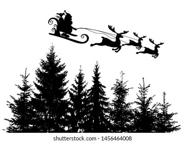 Santa Claus silhouette in a sleigh with deer. Merry Christmas. Vector