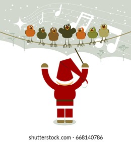 Santa Claus and singing birds