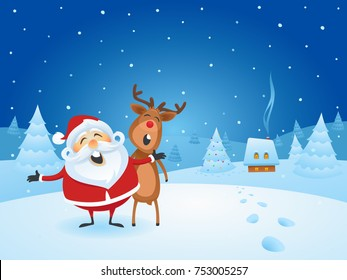 Santa Claus Singing Christmas Carols with His Friend Reindeer